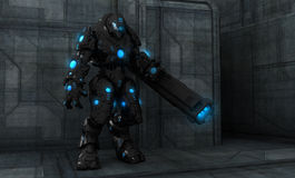 Future soldier. In advanced armor Royalty Free Stock Photo