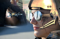 Future soldier. A woman with a futuristic helmet and reflecting glasses, at the foreground of a futuristic landscape Royalty Free Stock Photography