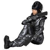 Future Soldier, Asian Female, Sitting Royalty Free Stock Photos
