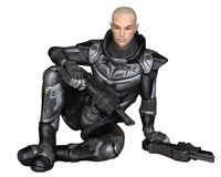 Future Soldier, Male, Sitting Stock Image