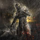 Future soldier in rain royalty free illustration