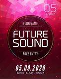 Future sound music party template, dance party flyer, brochure. Party club creative banner or poster for DJ.  stock illustration