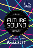Future sound music party template, dance party flyer, brochure. Night party club creative banner or poster with DJ Royalty Free Stock Images