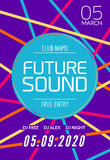 Future sound music party template, dance party flyer, brochure. Night party club creative banner or poster with DJ Royalty Free Stock Photography