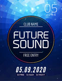 Future sound music party template, dance party flyer, brochure. Party club creative banner or poster for DJ Royalty Free Stock Image
