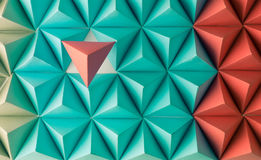 Future space. Abstract blue to red paper poly  made from  tetrahedron background. Usefull for business cards and web Royalty Free Stock Photo