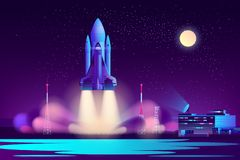 Space shuttle night launching cartoon vector. Future space shuttle night start from launch pad near flight control center cartoon vector illustration in neon vector illustration