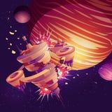 Future spaceship or orbital station crash vector royalty free illustration