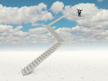 Future stair. Man go up on 3d concrete stair Stock Photo