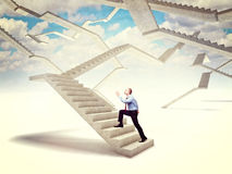 Future stair. Man go up on 3d concrete stair Stock Images