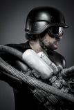 Future.Starfighter con el rifle enorme del plasma, concepto de la fantasía, mili Foto de archivo