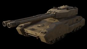 Future Super-Heavy Tank Isolated on Black, Front Angle. Science fiction illustration of the front angled view of a future large super-heavy tank isolated on royalty free illustration