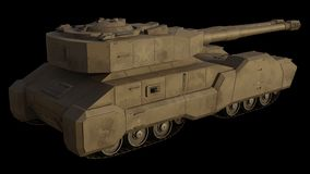 Future Super-Heavy Tank Isolated on Black, Side View. Science fiction illustration of the side view of a future large super-heavy tank isolated on black, 3d vector illustration