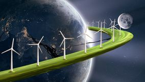 Future sustainable energy concept, wind turbines generating electricity on planetary ring around earth. Abstract 3D art of futuristic renewable energy concept. A royalty free illustration