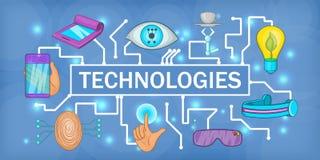 Future tech banner horizontal, cartoon style. Future tech banner horizontal concept. Cartoon illustration of future tech banner horizontal vector for web Stock Image