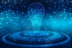 Future technologie d'ampoule, fond d'innovation, concept créatif d'idée illustration stock