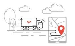 Future technologie de transport - individu conduisant le camion se déplaçant par salut illustration de vecteur