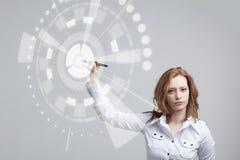 Future technologie Femme travaillant avec futuriste Photographie stock libre de droits