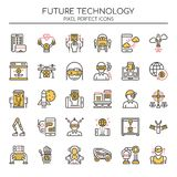 Future technologie, ligne mince illustration stock