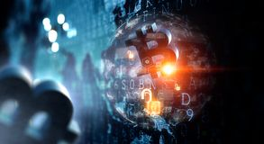 Future technologie, panneau d'écran numérique avec le bitcoin illustration libre de droits