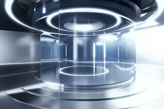 Future technologies concept. Side view of glowing silver teleportation station. Future technologies concept. 3D Rendering Stock Photo
