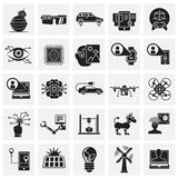 Future technologies icons set on squares background for graphic and web design, Modern simple vector sign. Internet concept. vector illustration