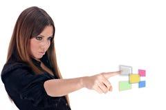 Future technology. Businesswoman selected visual button.Future technology Stock Photo
