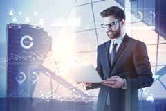 Future, technology and analytics concept stock photography