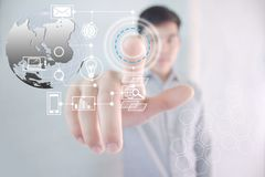 Future technology approach. Young man with a future technology approach royalty free stock photos