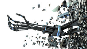 Future technology in black prosthetic hand on white Stock Photo
