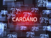 Cryptocurrency Cardano. Future technology block chain cryptocurrency Cardano red touchscreen interface. Blockchain financial virtual money wallet screen concept royalty free illustration