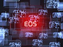 Cryptocurrency EOS. Future technology block chain cryptocurrency EOS red touchscreen interface. Blockchain financial virtual money wallet screen concept. 3d royalty free illustration