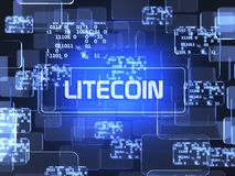 Cryptocurrency Litecoin. Future technology block chain cryptocurrency Litecoin blue touchscreen interface. Blockchain financial virtual money wallet screen Stock Image