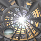 Future Technology Business. A cool horizon perspective background of an abstract progressive tunnel showing the future business of technology