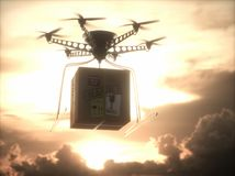 Future Technology Delivery Drone Stock Image