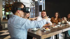 Future technology experts testing augmented reality headset developer professionals developing futuristic technology stock video footage