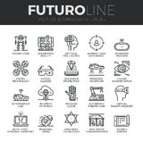 Future Technology Futuro Line Icons Set. Modern thin line icons set of future technology and artificial intelligent robots. Premium quality outline symbol stock illustration