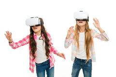 Future technology. Girls interact cyber reality. Play cyber game and study. Modern education. Alternative education. Technologies. Virtual education. Kids wear royalty free stock photos