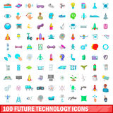 100 future technology icons set, cartoon style Stock Image