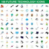 100 future technology icons set, cartoon style. 100 future technology icons set in cartoon style for any design illustration royalty free illustration