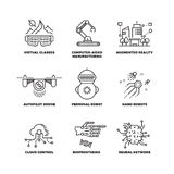 Future technology and robot artificial intelligence outline vector icons Royalty Free Stock Images
