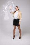 Future technology. Woman working with futuristic interface Royalty Free Stock Photo
