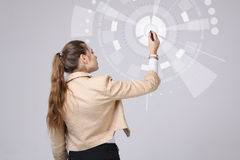Future technology. Woman working with futuristic interface Stock Images