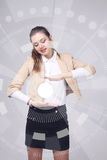 Future technology. Woman working with futuristic interface Stock Photos