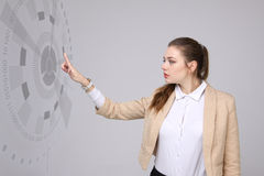 Future technology. Woman working with futuristic interface Royalty Free Stock Photos