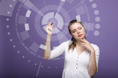 Future technology. Woman working with futuristic interface Stock Photography