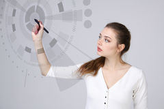 Future technology. Woman working with futuristic interface Royalty Free Stock Image