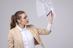Future technology. Woman working with futuristic interface Royalty Free Stock Images