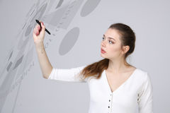 Future technology. Woman working with futuristic interface Stock Photo