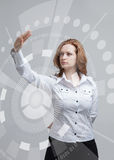 Future technology. Woman working with futuristic Royalty Free Stock Photography
